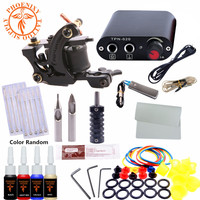 Completed Kit Tattoo Machine Set One 6 Coils Guns 4 Colors Black Pigment Sets Power Tatoo