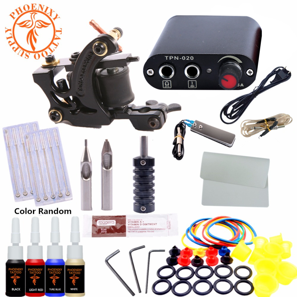 Completed Kit Tattoo Machine Set One 6 Coils Guns 4 Colors Black Pigment Sets Power Tatoo Beginner Grips Kits Permanent Makeup hot pink apple shaped makeup brush cleaner