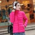 Casaco de inverno Mulheres 2016 Plus Size 4XL Mulheres Jaqueta de Inverno Parka de Algodão-Acolchoado Para Baixo Casaco Mulheres Amassado Jaqueta Curta