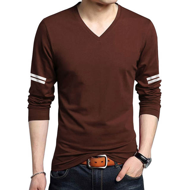 Summer Fashion Brand Men's T-Shirts Cotton Long Sleeve Casual V-neck Large Size T Shirt Breathable Wicking Cool Slim Fit tshirts