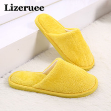 Lizeruee Candy color Warm Home Slippers Women Bedroom Winter Slippers Indoor Slippers Cotton Floor Home Flax Shoes KS357 dreamshining warm slippers women bedroom winter slippers women cartoon bowtie japanese indoor slippers cotton floor home shoes