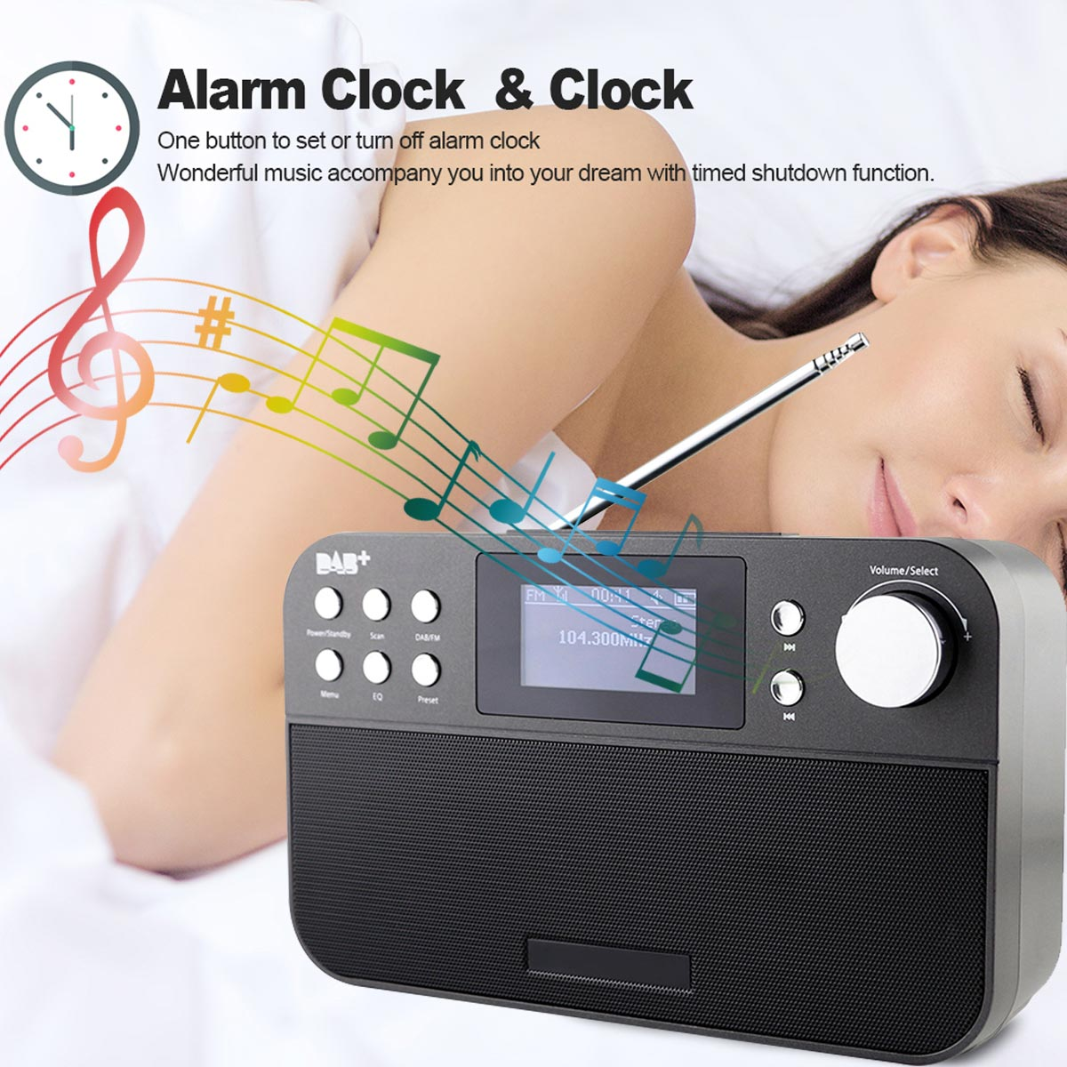 Portable Mini Numérique Radio Récepteur FM Radio Avec LCD Numérique Horloge Snooze Réveil Fonction Lecteur de Musique En Plein Air