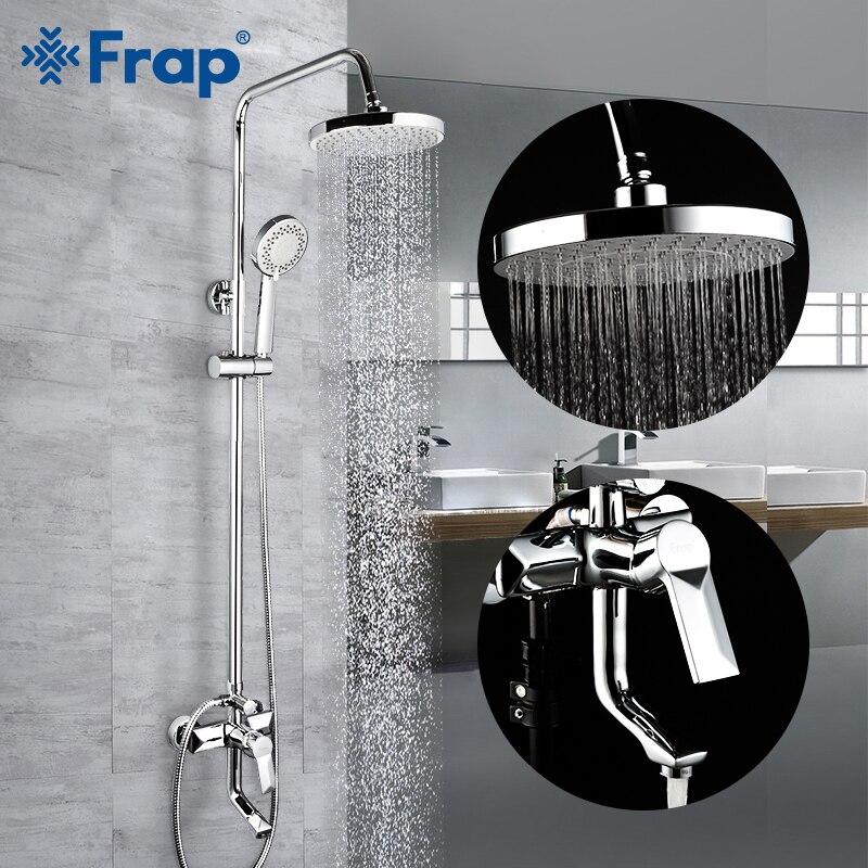 Frap Chrome Bath Shower Faucets Set Bathtub Mixer Faucet Rainfall Shower Tap Bathroom Shower Head Exposed Shower Mixer Tap F2418