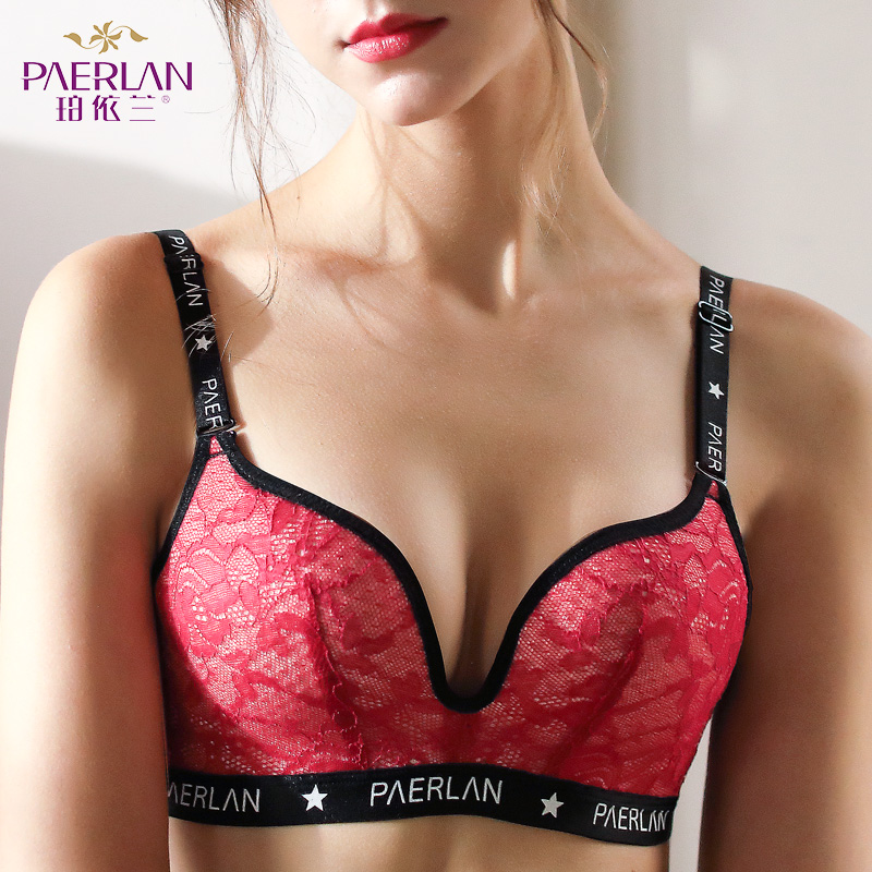 PAERLAN Wire Free Non-Sponge Slim Cup Lace Floral Bra Seamless Large Size Large Breasts Push Up Anti-Sag Women underwear 3/4 Cup image