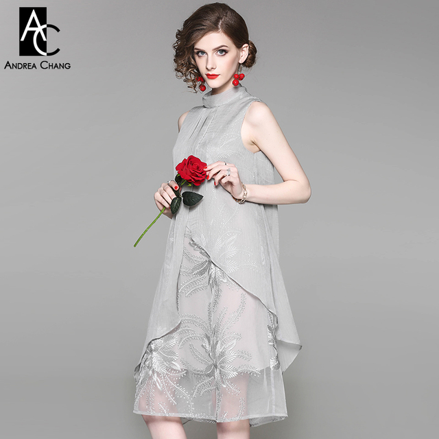 a95deb5a1d1 spring summer woman dress floral pattern embroidery lining asymmetric shell  white gray dress collar ribbon vintage