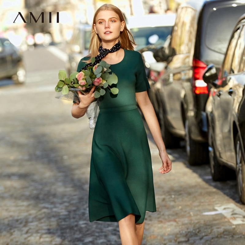 Amii Minimaliste Tricoter Une Ligne Robes Femmes Printemps 2019 Élégant Solide À Manches Courtes O Cou Mince Maigre Empire Femme Robes