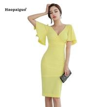 2018 Plus Size Solid Pencil Dress Summer Women Yellow Flare Sleeve V-neck Knee-length Vintage Elegant Dress Office Party Dress