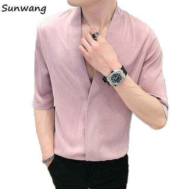 fb37d7e9fd905 Vestido de verano ropa para hombres jóvenes Deep V cuello Sexy elegante Moda  hombre Slim Fit
