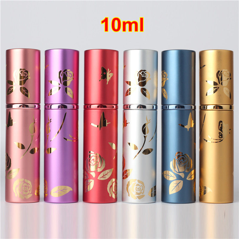 1PC High Quality Luxury 10ml Metal Perfume Bottle Aluminium Refillable Atomizer Portable Glass Spray Bottle Empty