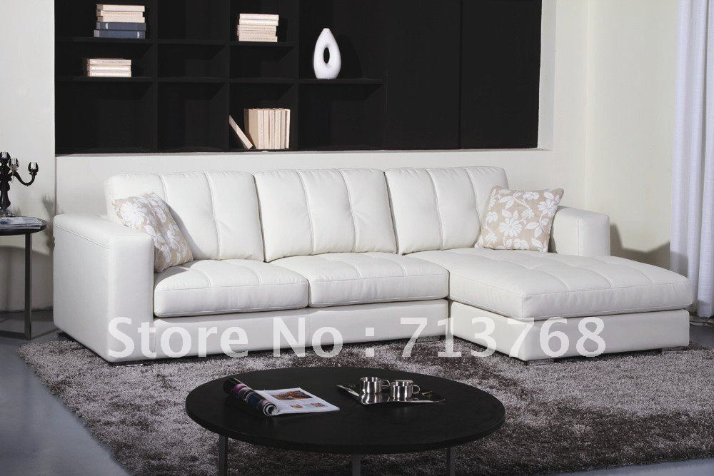 Modern furniture living room leather lounge sectiona for Sofas modernos en l