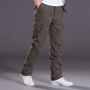 Image 2 - Marka Plus size męskie spodnie bojówki grube ocieplane spodnie zimowe pełnej długości kilka kieszeni dorywczo wojskowe taktyczne spodnie