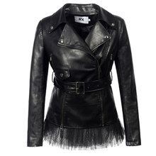 Lace faux leather PU Jacket Women fashion rose Winter AutumnMotorcycle Jacket Black faux leather Coat Outerwear Gothic(China)