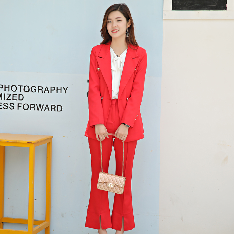 High Quality Spring and Autumn New Red Sexy Fashion Casual Suit Jacket Ladies Temperament Korean The Small Suit Tide