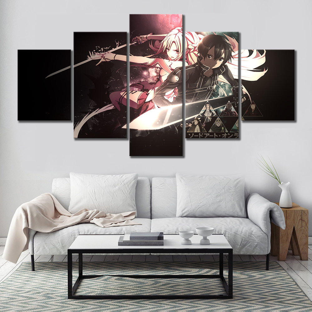 5 Piece Anime Poster Sword Art Online Cartoon Pictures Canvas Art Wall Paintings for Bedroom Decor 2
