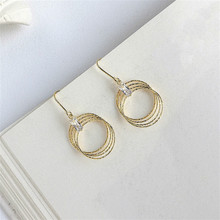 Fengxiaoling European Style 925 Sterling Silver Golden Circle Drop Earrings Exaggerated Multiple Round Earrings For Wome Jewelry