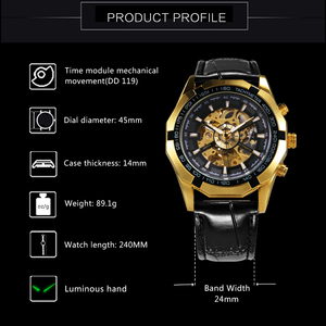 Image 3 - WINNER Official Automatic Watch Men Golden Skeleton Mechanical Mens Watches Brand Luxury Leather Strap Fashion Dress Wristwatch