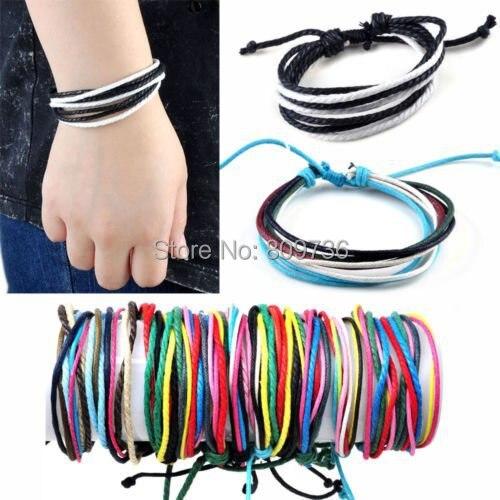 12pcs Men Boy Lady Girl's Surf Patrol Leather Adjustable Bracelet Wristband Cord Charm Bracelets Friendship Drop Free