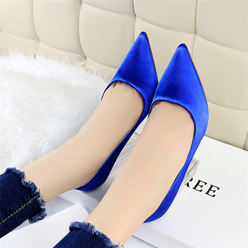 19 Plus Size 43 Women Block 10cm High Heels Lady Scarpins Green Satin Pumps Female Wedding Yellow Blue Silk Transparent Shoes 28