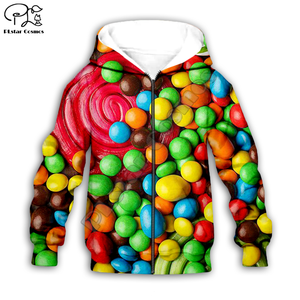 colorful 3d Kids children Hoodies food rainbow candy print t shirts tees zipper Hooded baby girl boys clothing family set pant in Matching Family Outfits from Mother Kids