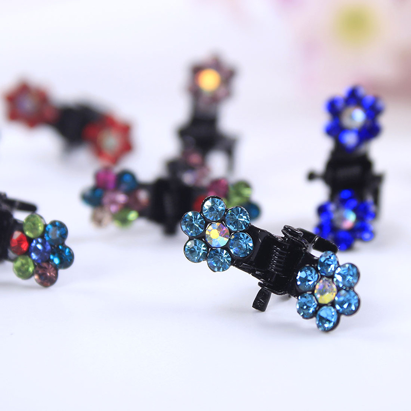 12pcs/pack Crystal Rhinestone Flower Hair Claw Hairpins Hair Accessories Ornaments Hair Clips Hairgrip For Kids Girl New 2019