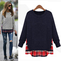 2016 Primavera Outono Mulheres moda Casual solto camisa patchwork Camisola de malha Malhas de fios de lã O pescoço Bordado Camisolas