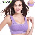 RealLion Women Running Vest Lace Sports Bra Tank Tops Without Under Wire Vest for Running Fitness Seamless Woman Underwear