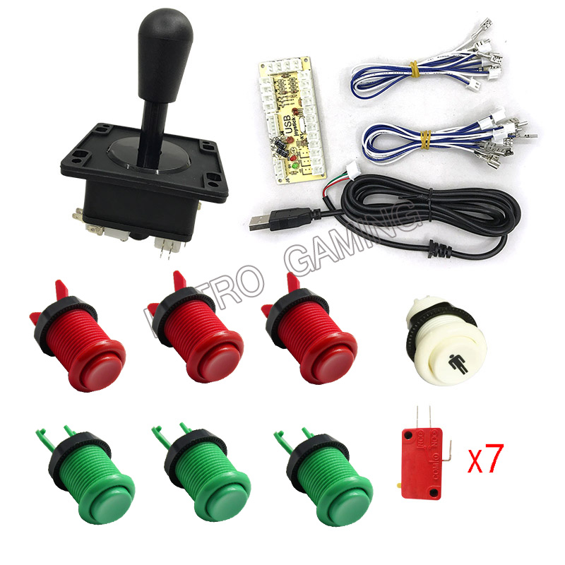 FREE SHIPPING 1 kit of single player PC joystick PCB, USB joystick PCB with wires, USB encoder to Jamma arcade games image
