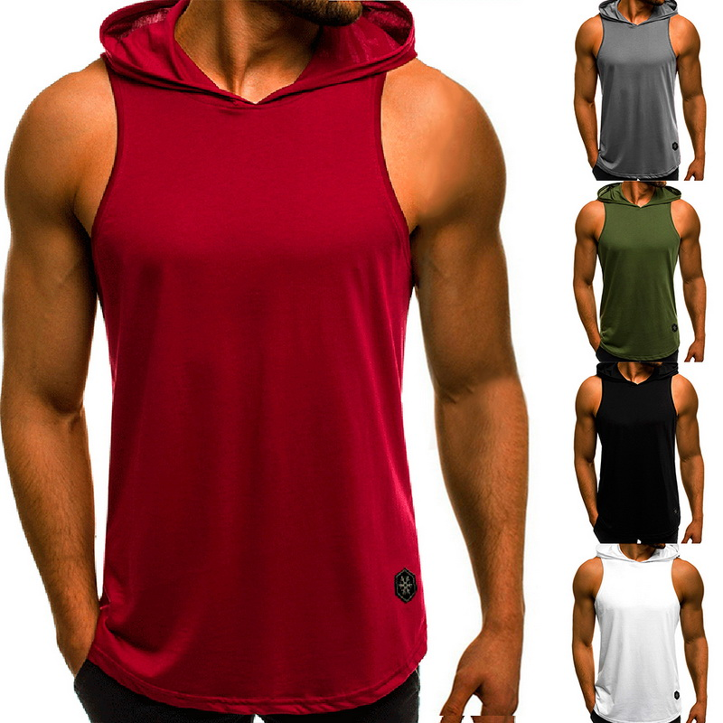 Litthing Men Fitness Hooded   Tank     Tops   Sleeveless Bodybuilding Tee Shirt Casual Male Workout Hooded Vest Hip Hop Hoodies