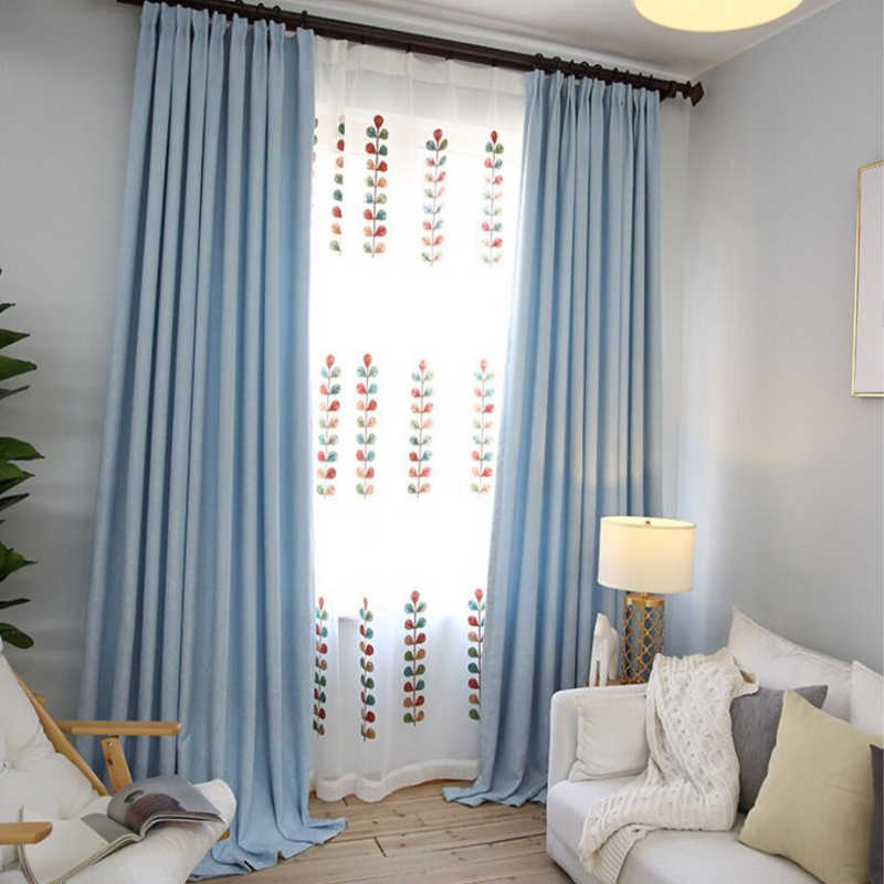 Blue Solid Curtains Fabrics Modern Blackout Curtains for Bedroom Cortina sheer Window Curtain Cloth for Living Room WP199-30