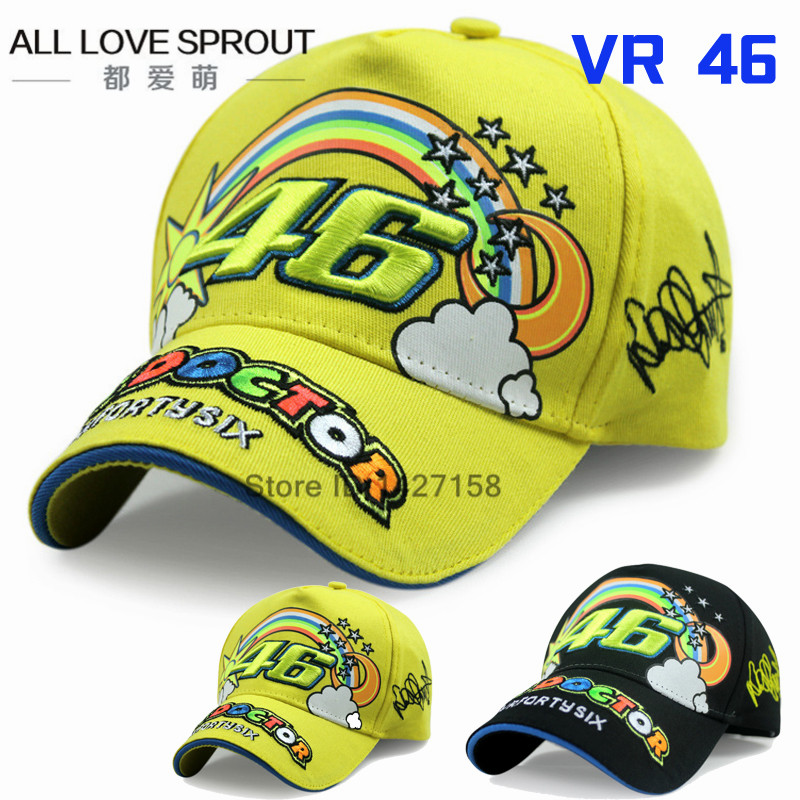 2018 Rossi 46 embroidered rainbow baseball cap hat VR46 Motorcycle Racing Cap Men Baseball Hat adjustable bones snapback adjustable letters embroidered baseball cap