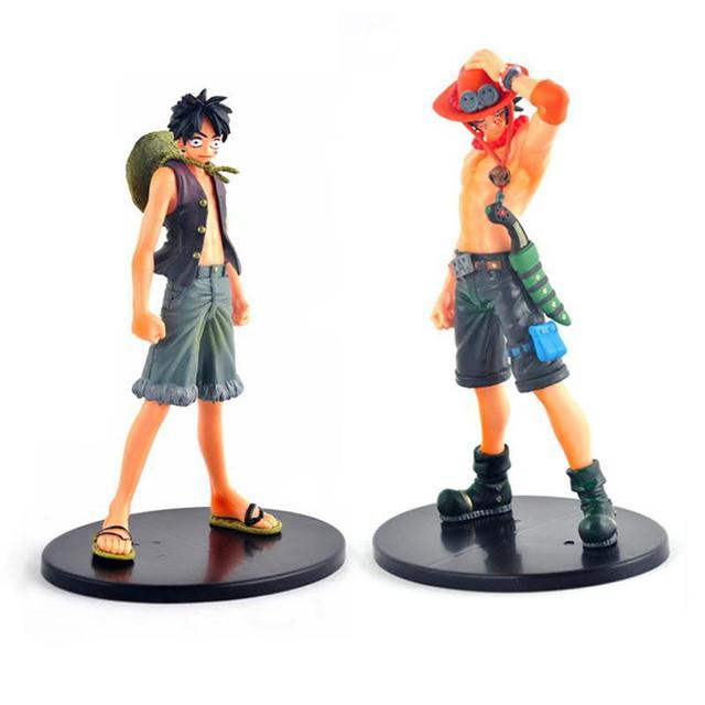 Anime One Piece PVC Action Figure Toys Luffy Ace Figurines Model Collection Cartoon Toy Kids Gifts 2pcs/set Free Shipping