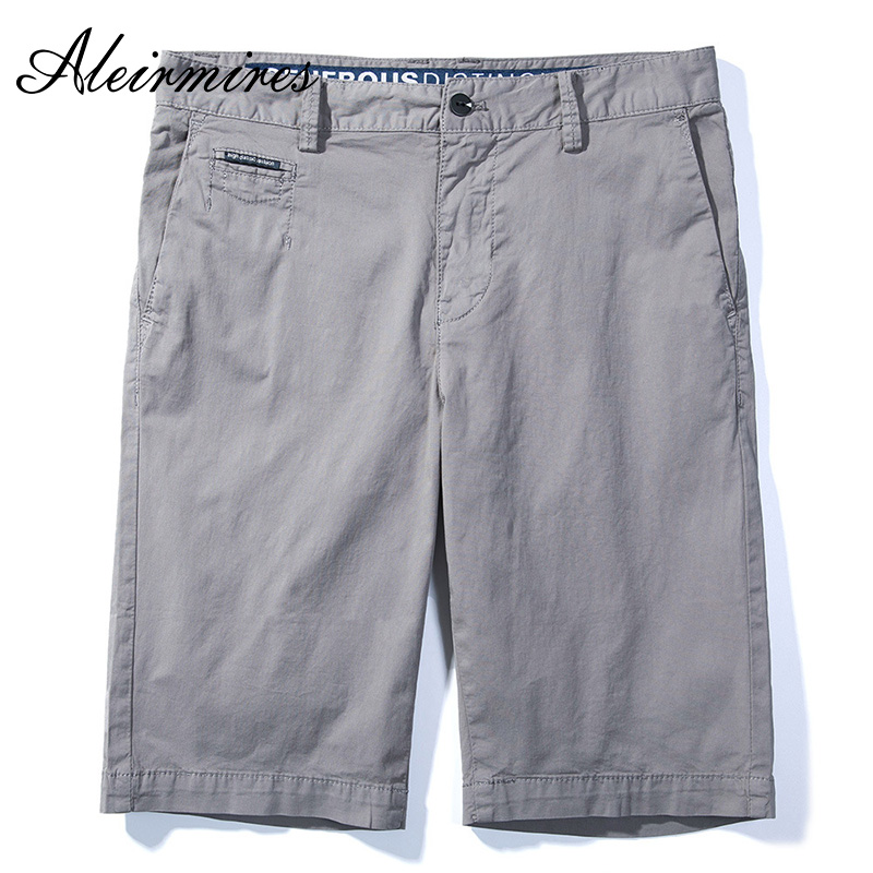 2018 Summer Men Chino Shorts Business Casual Solid Color Cotton Classic Regular Straight Short Pants Beach Knee Length Shorts