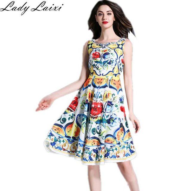 3b932f1b0 2018 Runway designer fashion printing sexy summer dress O-neck Tank flower  print party elegant female Slim dresses Vestidos