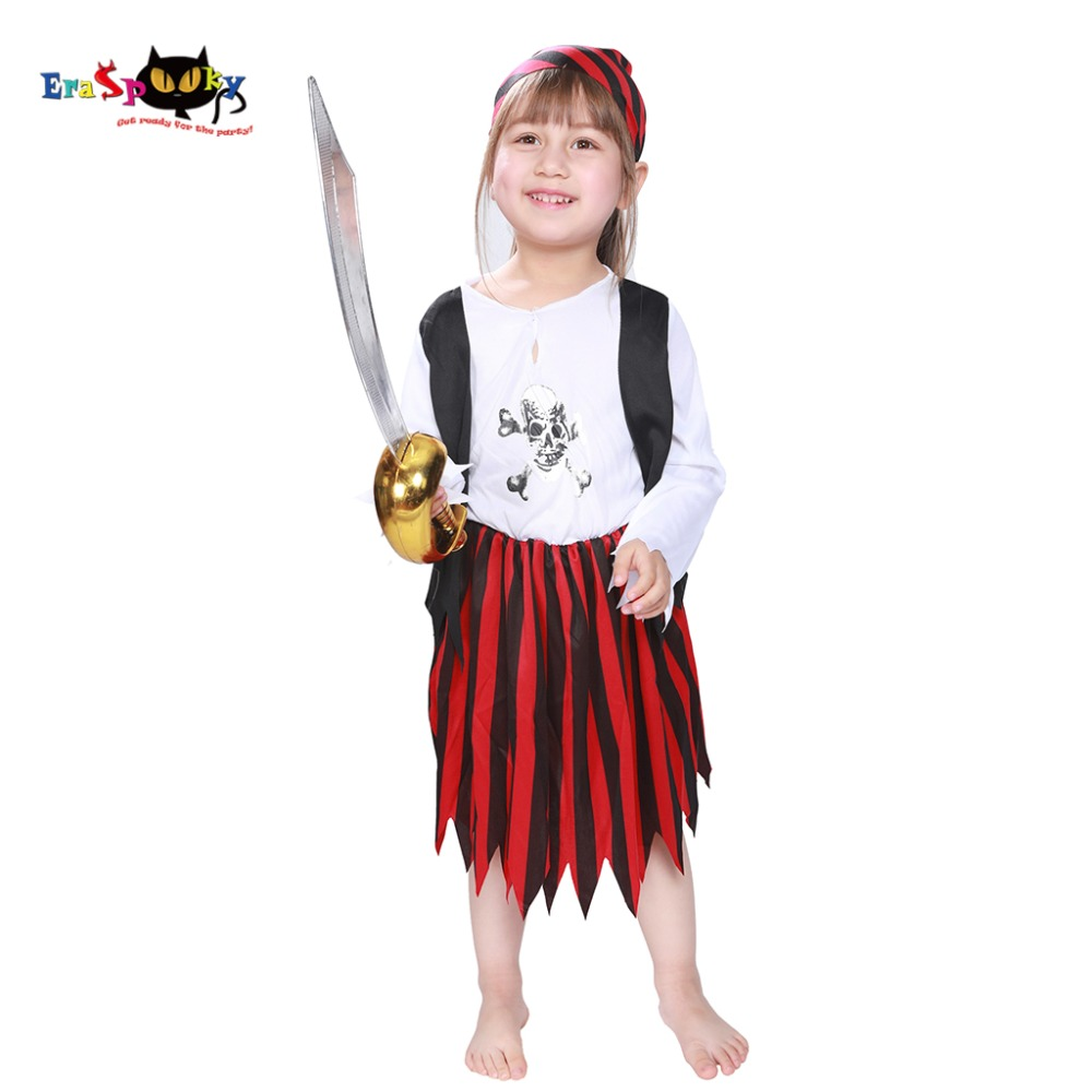 3-12 Kids Costumes Girls Little Pirate Jack Sparrow Costume Baby Girl Anime Cosplay Halloween Fancy Dress Party Outfit 2018 NEW