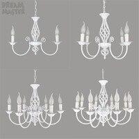 European style 3 4 6 8 E14 bulbs iron Chandeliers living room white lamps modern Chandelier lighting led lustre lighting lamps
