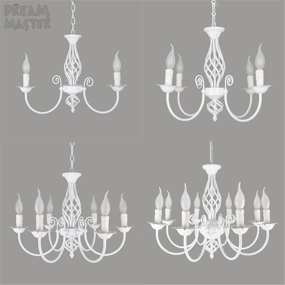 Style européen 3 4 6 8 E14 ampoules lustres en fer salon lampes blanches lustre moderne éclairage led lustre éclairage lampes