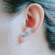 Natural Moonstone Stud Earrings Round Beads Earring Bright Gray Earrings for Women 4MM/5MM/5.5MM Female Minimalism Fine Jewelry