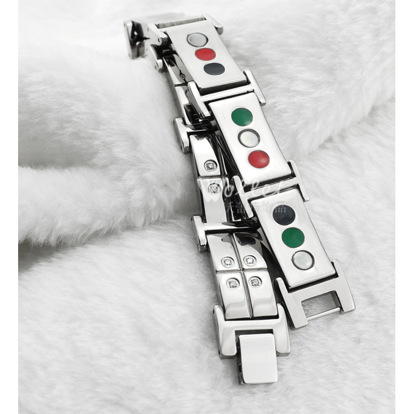 Wollet Jewelry Health Magnetic Tourmaline Germanium Infrared Titanium Bracelet For Men Women Wide 16MM CZ Stone Bracelets