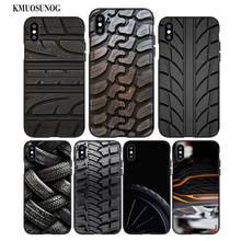 For iPhone XS X XR Max 8 7 6 6S Plus 5 5S SE Black Soft Silicone Phone Case Cool Tire Tread wheel Style цены