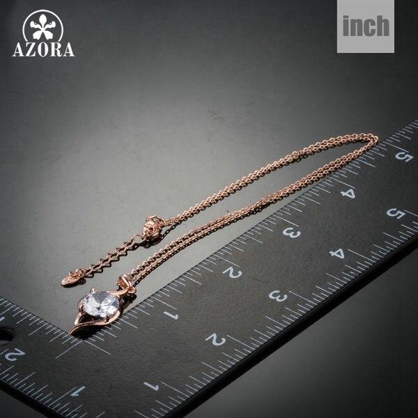 AZORA ružičasta zlatna boja jasno kubni cirkonij privjesak ogrlica - Modni nakit - Foto 3