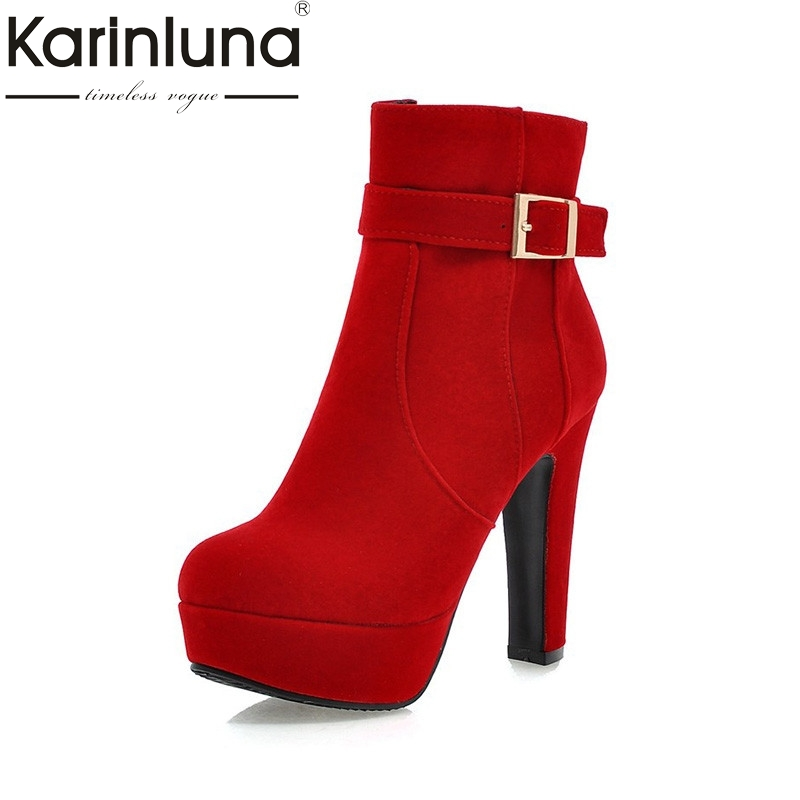 KARINLUNA 2017 Large Size 33-43 Party Boots Women Fashion High Heels Woman Shoes Sexy Add Fur Zip Up Winter Ankle Boots Platform morazora fashion punk shoes woman tassel flock zipper thin heels shoes ankle boots for women large size boots 34 43