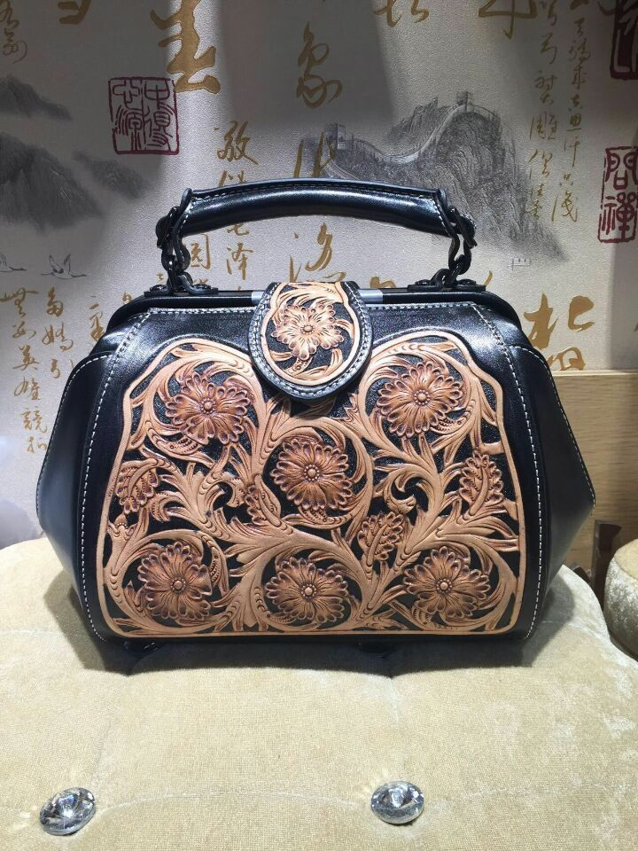 italian vegetable tanned cow leather women bags hand carve national flower genuine leather handbags woman shoulder bag hand carved italian vegetable tanned cowhide fashion leather bags handbags women