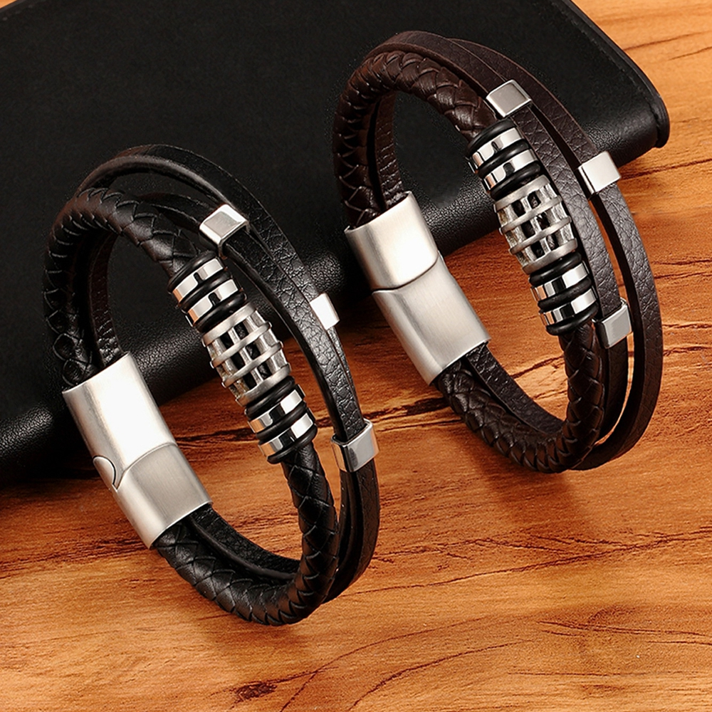 XQNI Punk Style Personality Men Jewelry Genuine Leather Bracelet Black/Brown Color Multi Layer Stainless Steel Accessories Gift