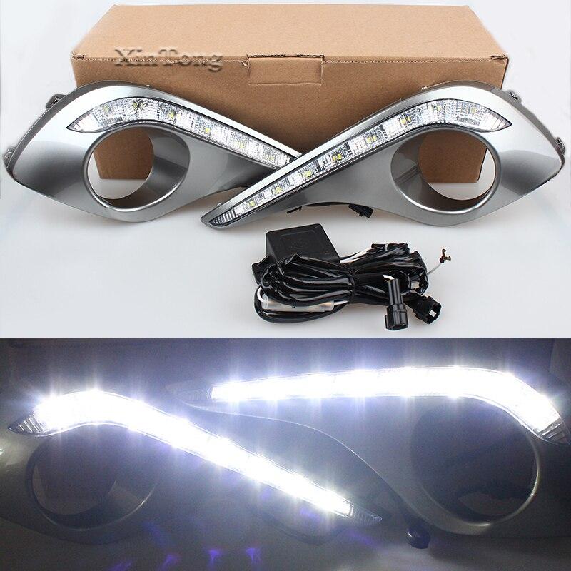 MZORANGE Turn Signal 12V LED CAR DRL Daytime Running Lights With Fog Lamp Hole For Toyota Highlander 2012 2013 Day Light