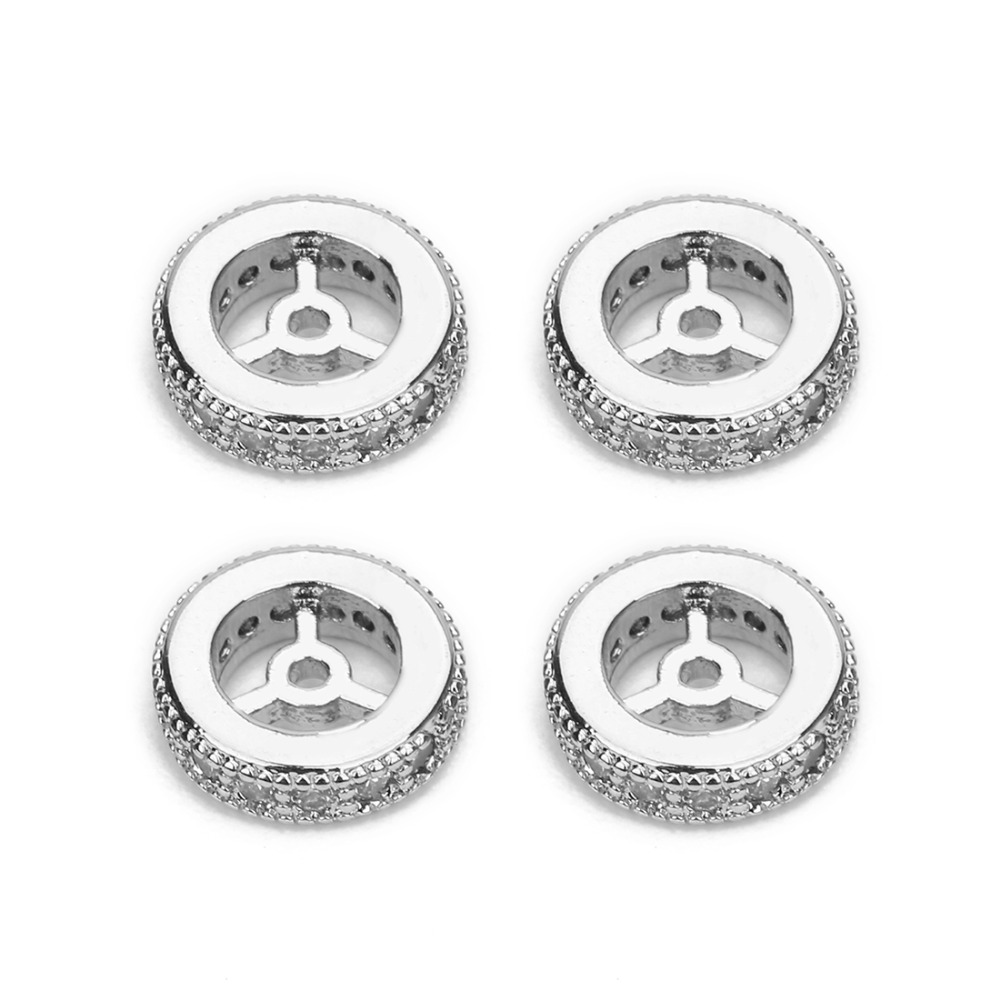 5Pcs 6//8//10//12mm Plated Wheel Shape Loose Spacer Beads With 1mm Hole DIY Jewelry