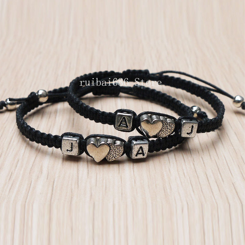 8996eb420df27 US $8.05 38% OFF|Handmade Initial Bracelet Couples Bracelets Set  Valentine's Day Gift His Hers Jewelry-in Charm Bracelets from Jewelry &  Accessories ...