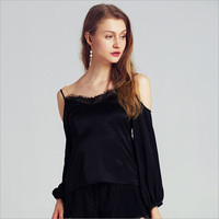 Women sleep top black silk sexy elegant brief grenadine with sweet lace hot V neck top quality pajamas for ladies