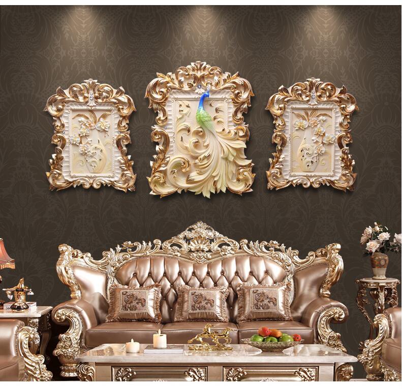Résine américaine de luxe en relief peinture décorative tenture murale artisanat Restaurant salon mur autocollant Mural ornements décor