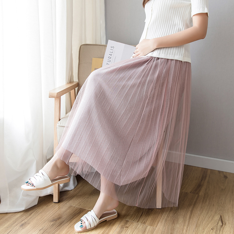 Solid Pleated Maternity skirts Clothes For Pregnant Women Pregnancy Clothing Mesh High waist skirt Gravidas Vestidos Summer 2019|Skirts| |  - title=