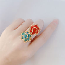 R246 Retro personality national wind ring jewelry first red yellow blue crystal bead ring weaving women jewelry wholesale(China)